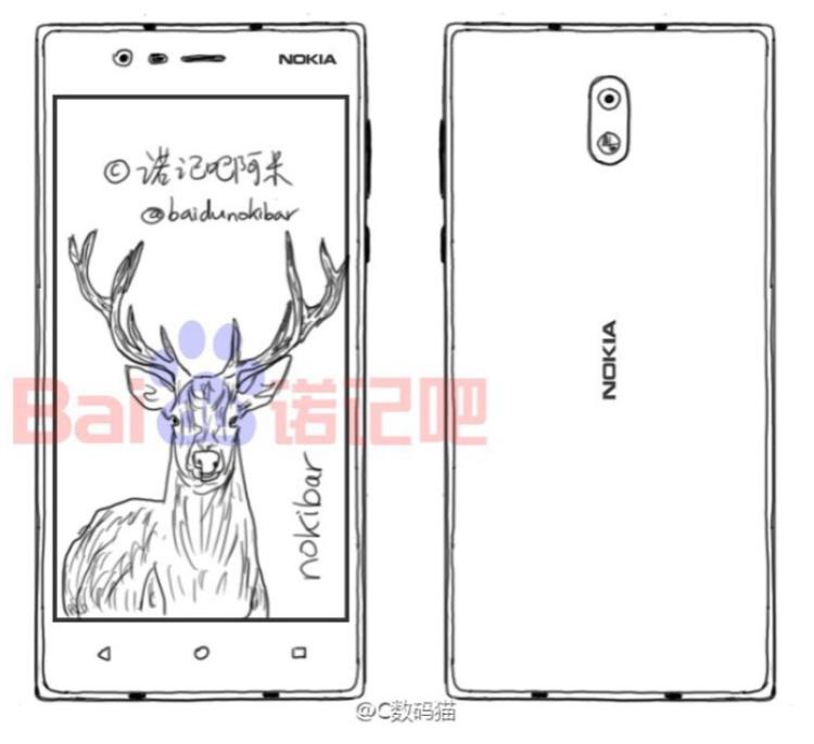 Безрамочный Nokia D1C с Android Nougat Другие устройства  - sketch-of-the-mid-range-model.-750