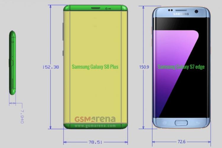 Каких размеров окажутся новые Galaxy S8 Samsung  - galaxy-s8-plus.-750