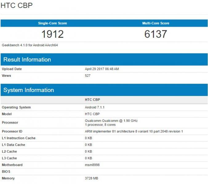 HTC U11 (Ocean) раскрыл характеристики в Geekbench HTC  - htc_u11_geek