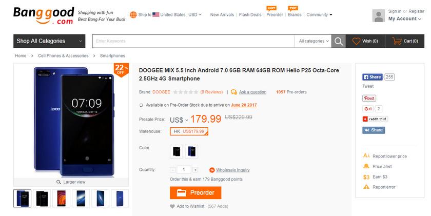 Doogee Mix в статусе предзаказа на Banggood Другие устройства  - doogee-mix-sale-6-june-2