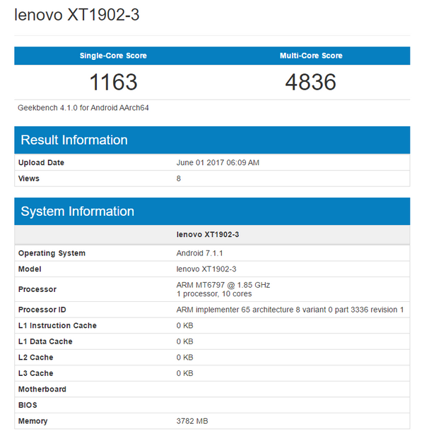 Металлический Moto M2 прошел тесты в Geekbench Другие устройства  - lenovo-xt1902-3