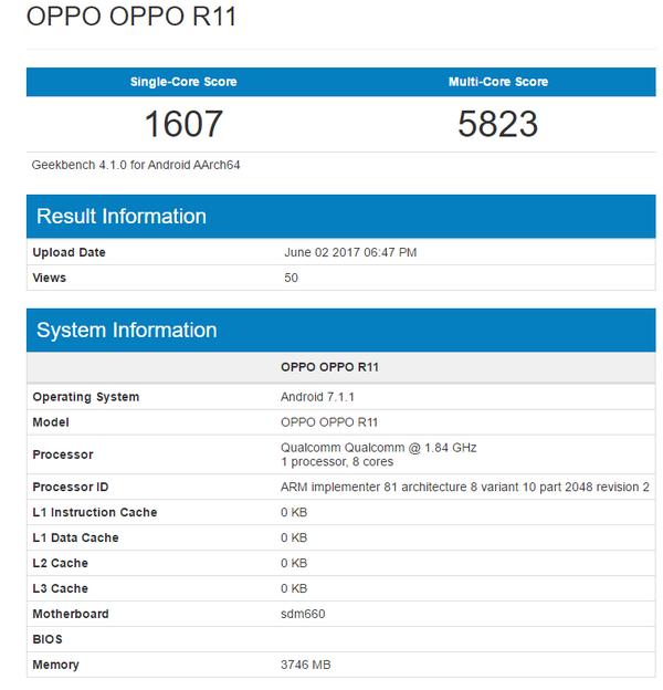В GeekBench появился Oppo R11 на Snapdragon 660 Другие устройства  - oppo-r11-geekbench