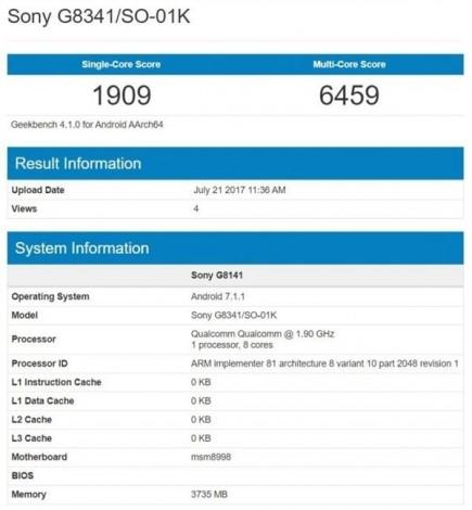 Стали известны шокирующее характеристики Sony Xperia XZ1 Другие устройства  - 512149