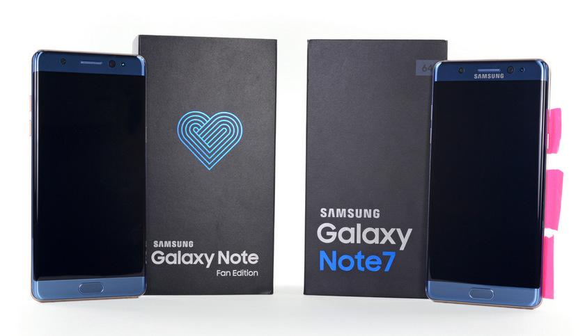 Galaxy Note Fan Edition - это тот же Note 7, но с меньшей батареей Samsung  - samsung-galaxy-note-fan-edition-ifixit-1