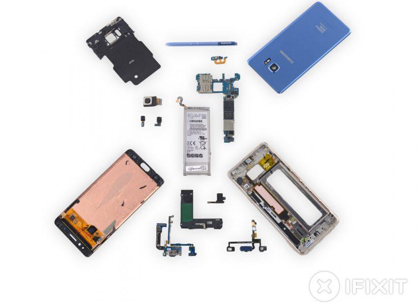 Galaxy Note Fan Edition - это тот же Note 7, но с меньшей батареей Samsung  - samsung-galaxy-note-fan-edition-ifixit-4
