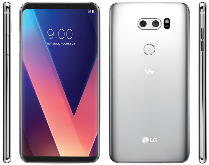 Рендер LG V30 со всех 4х сторон в серебристом цвете. Характеристики LG  - lg_v30_renders_01