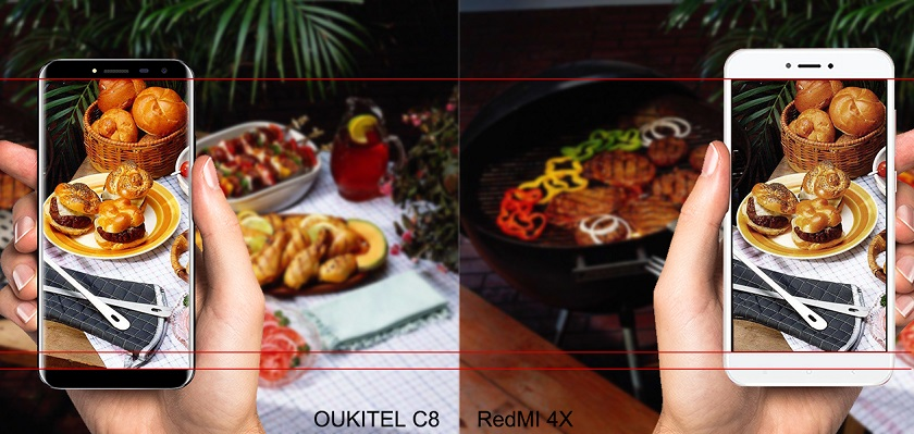 Новый безрамочный OUKITEL C8 против Xiaomi Redmi 4X Xiaomi  - oukitel-c8-3