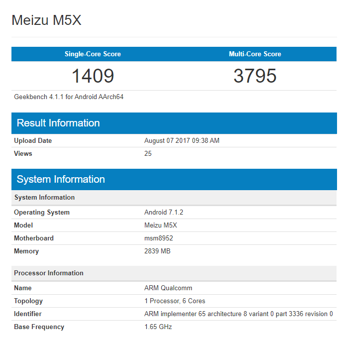 Meizu M5X на чипе Snapdragon засветился в Geekbench Meizu  - meizu-m5x-geekbench