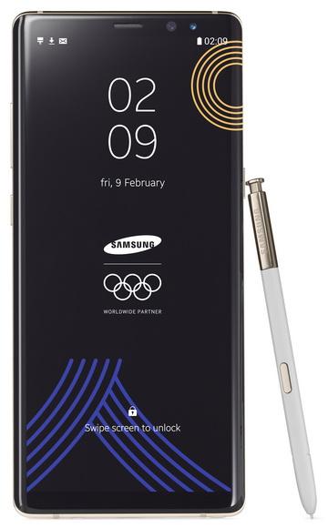 Белый Samsung Galaxy Note 8 – специальный смартфон для Олимпиады 2018 Samsung  - galaxy_note_8_olympic_01