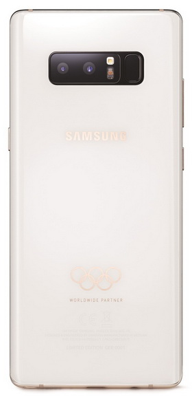 Белый Samsung Galaxy Note 8 – специальный смартфон для Олимпиады 2018 Samsung  - galaxy_note_8_olympic_02