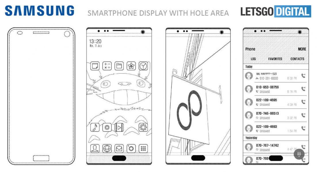 Samsung хочет встроить камеру и сканер отпечатка прямо экран Samsung  - zagruzhennoe