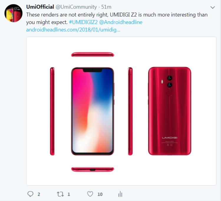 UMIDIGI Z2: Опять клон iPhone X ? Другие устройства - umidigi-z2-twitter.-750