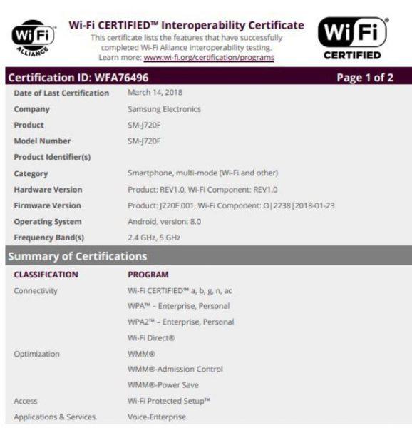 Samsung Galaxy J8 и возможно J7 (2018). Новые подробности гаджетов Samsung Samsung  - 3_sm-720f-wifi-alliance.-750