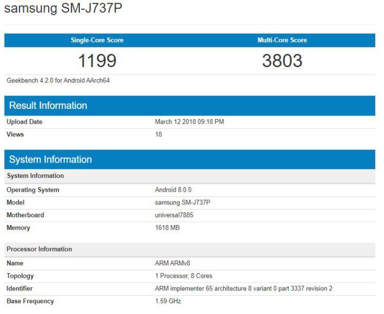 Samsung Galaxy J8 и возможно J7 (2018). Новые подробности гаджетов Samsung Samsung  - 4_samsung-galaxy-j7-2018-geekbench.-750