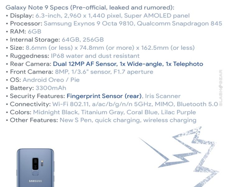 Стали известны характеристики нового Samsung Galaxy Note 9 Samsung  - gn0