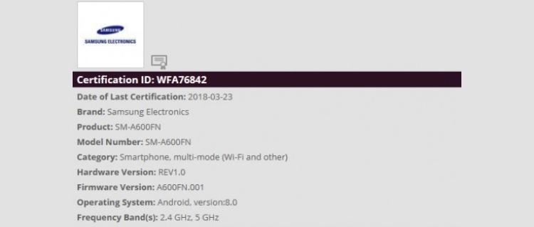 Регулятор слил данные о гаджете Samsung Galaxy A6 Samsung  - sg2-1