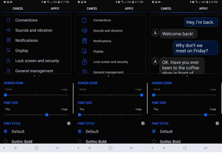 Как поменять размер шрифта на гаджетах Galaxy S9 и S9+? Samsung  - 3.-750