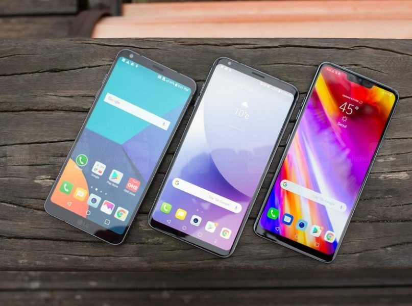 Обзор LG G7 ThinQ - дорогой, но умный гаджет LG  - 1525346570_the-lg-g6-left-the-lg-v30-middle-and-the-lg-g7-right