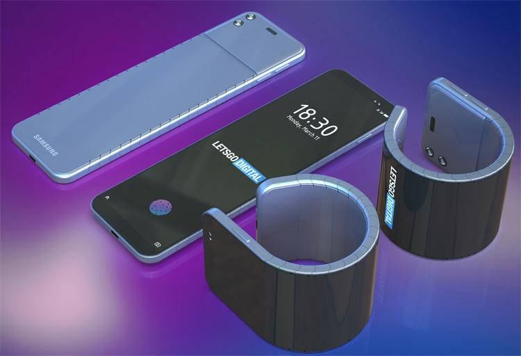 Samsung думает на смартфоном-браслетом для ношения на запястье Samsung  - bend1