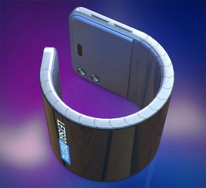 Samsung думает на смартфоном-браслетом для ношения на запястье Samsung  - bend2