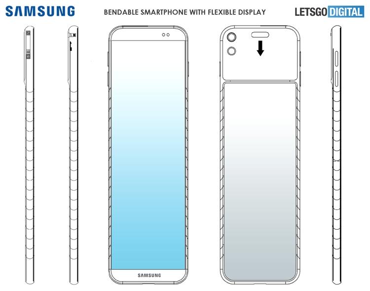 Samsung думает на смартфоном-браслетом для ношения на запястье Samsung  - bend3
