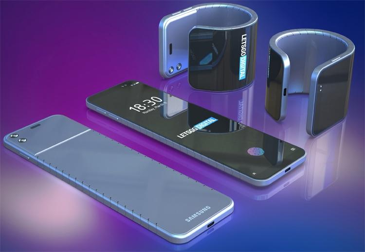 Samsung думает на смартфоном-браслетом для ношения на запястье Samsung  - bend5