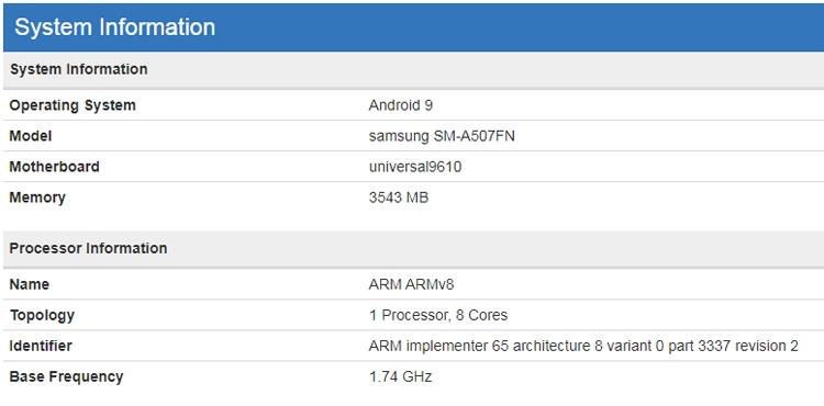 Samsung Galaxy A50s засветился в бенчмарке Samsung  - galaxy2
