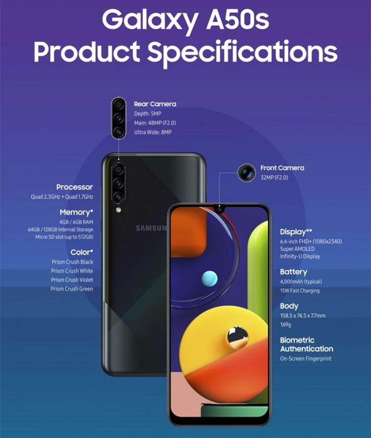 Samsung Galaxy A50s и A30s: дисплей на 6,4 дюйма и тройная камера Samsung  - gal3