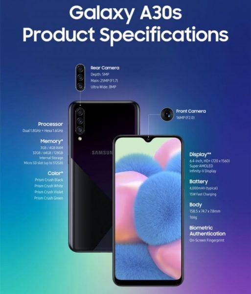 Samsung Galaxy A50s и A30s: дисплей на 6,4 дюйма и тройная камера Samsung  - gal5