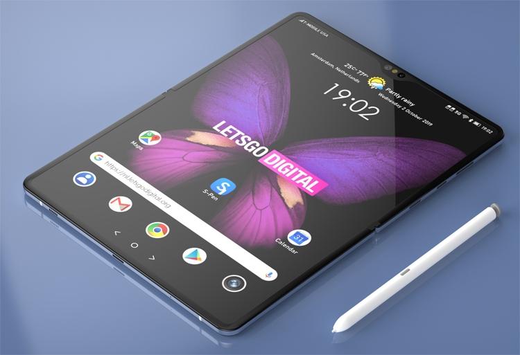 Samsung подумывает о гибком девайсе с поддержкой пера S Pen Samsung  - fold1-2