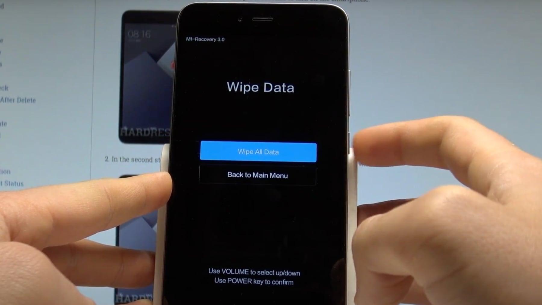 Как войти в рекавери на Xiaomi Приложения  - wipe-all-data
